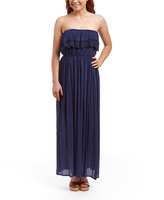 Navy Crochet-Ruffle Strapless Maxi Dress
