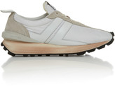 Lanvin Distressed Suede-Trimmed Leather Sneakers