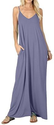 Tidecc Women Long Maxi Dresses Casual Loose Baggy Spaghetti Strap V Neck Cami Dress Beach Sundress with Pocket 7 Colors (Tag XL(UK 12)