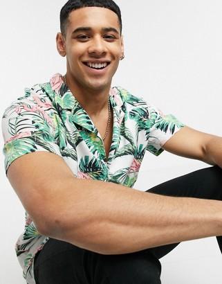 Levi's Cubano flamingo leaf print shirt revere collar short sleeve in white