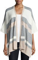 Neiman Marcus Cashmere Striped Poncho, Oatmeal