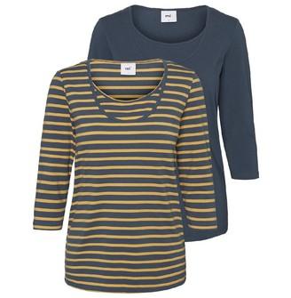 Mama Licious Mamalicious Womens Lea Two Pack Long Sleeve T-Shirt Teal/Yellow