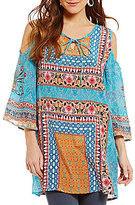 Tolani Robyn Tassel-Tie Neck Cold Shoulder Tunic