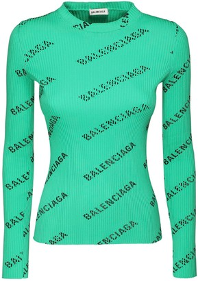 Balenciaga Logo Print Rib Knit Sweater