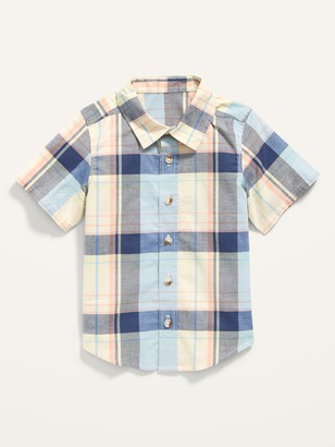 Old Navy Short-Sleeve Plaid Poplin Shirt for Toddler Boys