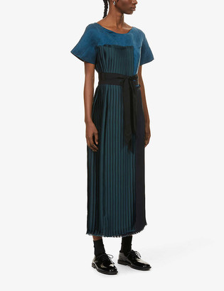 Omer Asim Haraza pleated woven and silk midi dress