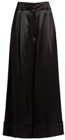 Loewe Wide-leg cropped satin trousers