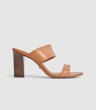 Reiss FREYA LEATHER HIGH HEELED MULES Tan