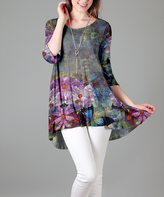 Gray Floral Hi-Low Tunic - Plus Too