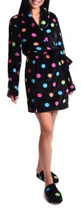 Body Candy Women's Fun Dot Luxe Plush Robe and Slipper Set
