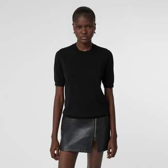 Burberry Short-sleeve Logo Intarsia Merino Wool Sweater