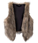SODIAL(R) Women Sleeveless Casual Faux Fur Vest Gilet Jacket Coat