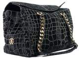 Roberto Cavalli Black Medium Pony Hair Croc Design Satchel Shoulder Bag.