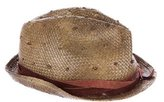 Brunello Cucinelli Leather-Trimmed Straw Hat