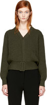 Victoria Beckham Brown Belted Rib Cardigan