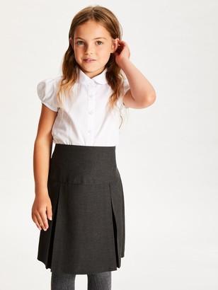 John Lewis & Partners Girls' Easy Care Cap Sleeve School Blouse, Pack of 2, White