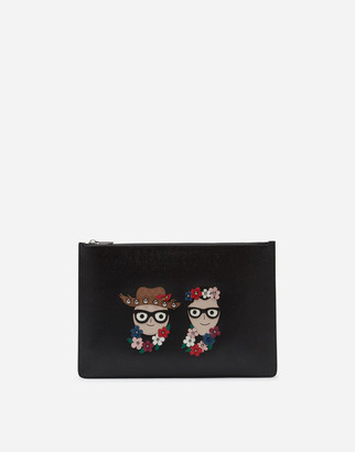 Dolce & Gabbana Dauphine Calfskin Document Holder With Patches Of The Designers