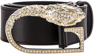Gucci Leather Belt in Black & Crystal | FWRD