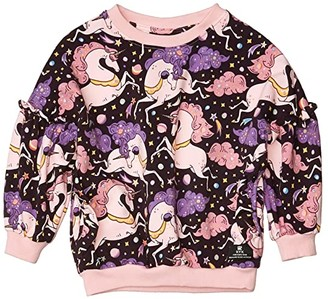 Rock Your Baby Cosmic Unicorn Sweatshirt (Toddler/Little Kids/Big Kids) (Black) Girl's Clothing