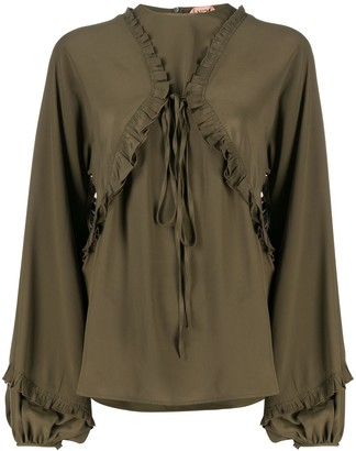 No.21 Tie-Front Puff-Sleeve Blouse