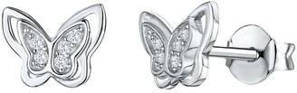 Jools by Jenny Brown Cubic Zirconia Butterfly Stud Earrings, Silver