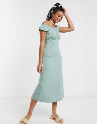 ASOS DESIGN off shoulder midi sundress in sage