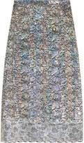 Christopher Kane Metallic Lace Midi Skirt - Silver