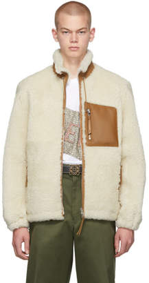 Loewe White and Tan Shearling Jacket
