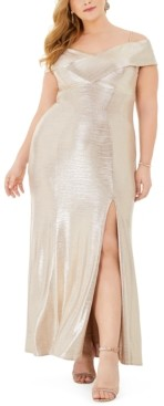 Night Way Nightway Plus Size Metallic Off-The-Shoulder Gown