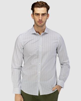 Brooksfield Luxe Leaf Print Slub Business Shirt