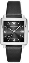 Emporio Armani Men's Square Leather Strap Watch, 38Mm