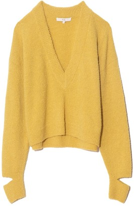Tibi Boucle Alpaca V-Neck Sweater with Slit Cuff in Light Yellow