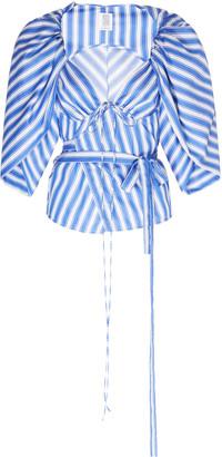 Rosie Assoulin Tie-Detailed Striped Cotton-Poplin Top