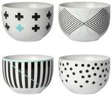 Cheeky®; 8oz Porcelain Mini Bowls - Black & Teal - 4-pack