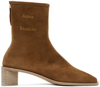 Acne Studios Brown Suede Branded Heeled Boots