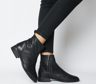 Office Ashleigh Wide Fit Flat Ankle Boots Black Leather