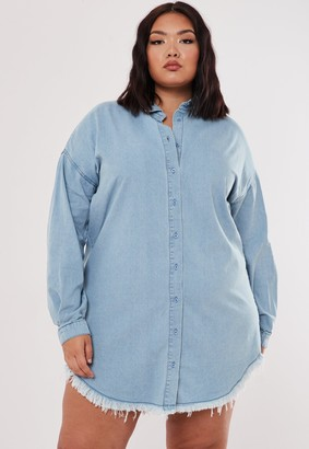 Missguided Plus Size Blue Oversized Denim Shirt Dress