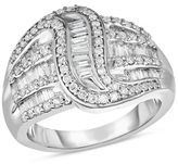 Zales 7/8 CT. T.W. Baguette and Round Diamond Crossover Wave Ring in Sterling Silver