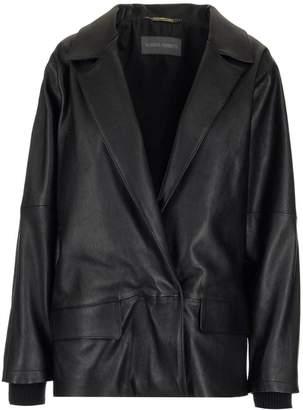 Alberta Ferretti Oversized Ribbed Leather Jacket