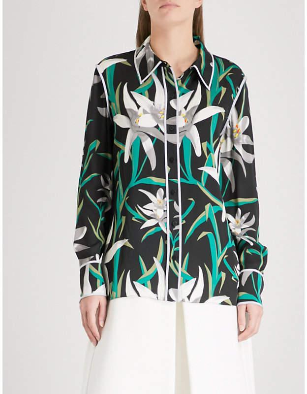 Diane von Furstenberg Printed stretch-silk shirt