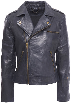 Muu Baa Muubaa Barna Cropped Washed-leather Biker Jacket