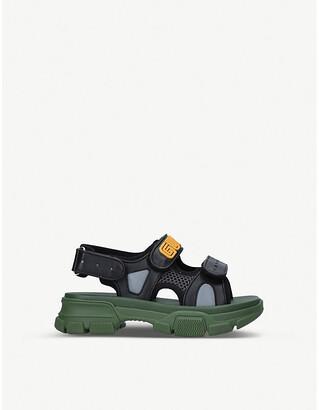 Gucci Aguru Trek brand-embellished leather sandals 5-8 years