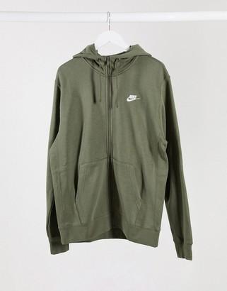 Nike Club zip-through hoodie in khaki