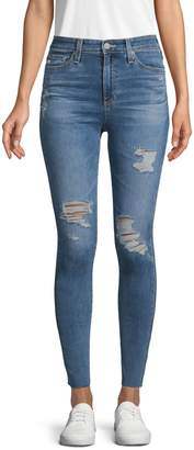 AG Jeans High-Rise Ripped Super Skinny Ankle Jeans