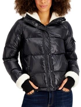S13 Jane Fleece-Trim Hooded Down Puffer Coat