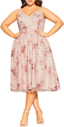 City Chic Sequin Flower Fit & Flare Dress