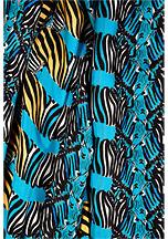 Issa Capri Blue/Honey Four Zebras Print Silk Scarf