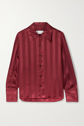 Saint Laurent Polka-dot Silk-satin Jacquard Shirt - Brick