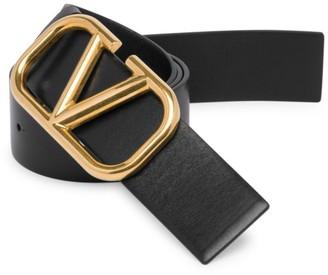 Valentino Logo Hardware Leather Buckle Belt