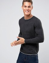 Selected Homme Crew Neck Knitted Jumper With Contrast Raw Hem